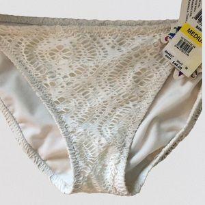 NWT BECCA Swim White Crochet Bikini Bottoms M